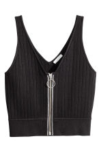 Ribbed top - Black - Ladies | H&M CN 2