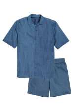 Pyjamas with shirt and shorts - Blue/Patterned - Men | H&M CN 2
