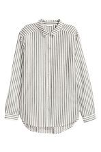 Cotton shirt - Dark grey/Striped - Ladies | H&M CA 2