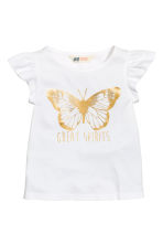 Printed top - White/Butterfly - Kids | H&M CN 2