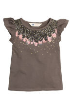 Printed top - Dark mole/Feathers - Kids | H&M CN 2