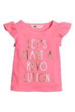 Printed top - Dark pink - Kids | H&M CN 2