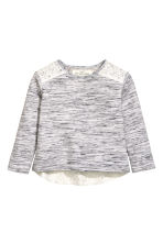 Sweatshirt with lace - Light grey marl - Kids | H&M CN 2