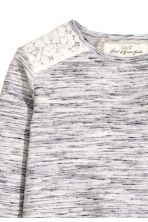 Sweatshirt with lace - Light grey marl - Kids | H&M CN 3