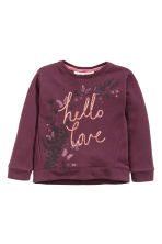 Sweatshirt with sequins - Burgundy - Kids | H&M CN 2