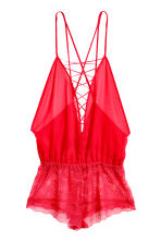 Playsuit in chiffon and lace - Red - Ladies | H&M CN 2