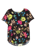 Short-sleeved blouse - Black/Floral - Ladies | H&M CN 1
