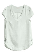 V-neck satin blouse - Light grey - Ladies | H&M CN 2