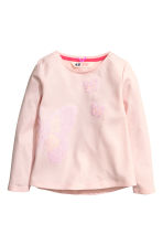 Jersey top with appliqués - Light pink - Kids | H&M CN 2