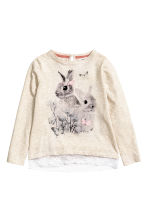 Jersey top with a lace trim - Light beige/Rabbit - Kids | H&M CN 2