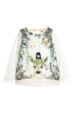 Jersey top with a lace trim - White/Roe deer -  | H&M CN 2
