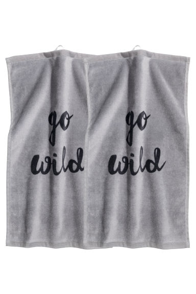 Lot de 2 essuie-mains - Gris/texte - Home All | H&M FR 1