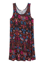 Sleeveless jersey dress - Black/Floral - Ladies | H&M CN 2