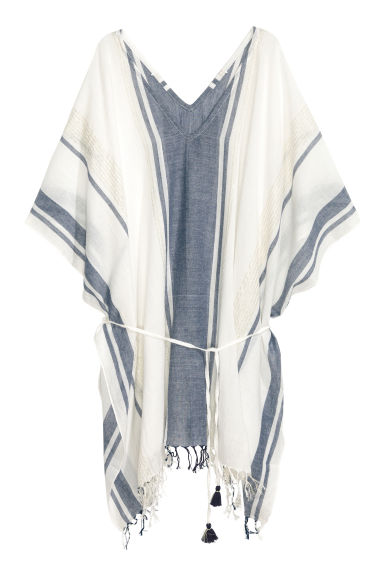 Cotton poncho - White/Dark blue/Striped - Ladies | H&M 1