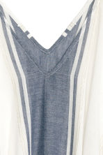 Cotton poncho - White/Dark blue/Striped -  | H&M 2