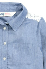 Long-sleeved blouse - Denim blue - Kids | H&M CN 3