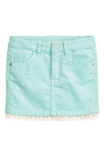 Corduroy skirt with lace - Mint green/Glittery - Kids | H&M CN 2
