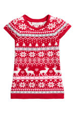 Jacquard-knit dress - Red/Reindeer - Kids | H&M CN 2