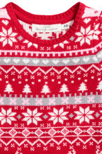 Jacquard-knit dress - Red/Reindeer - Kids | H&M CN 3