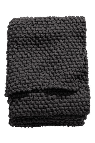Moss-knit blanket - Anthracite grey - Home All | H&M CN 1