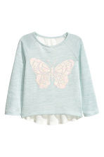 Glitter-print jumper - Mint green/Butterfly - Kids | H&M CN 2