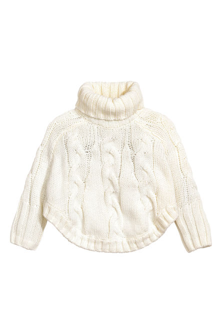 Cable-knit poncho