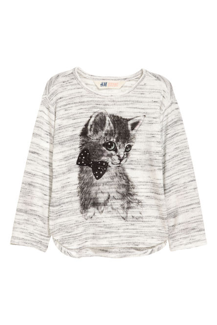 Fine-knit printed jumper