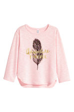 Fine-knit printed jumper - Light pink/Feather - Kids | H&M CN 2