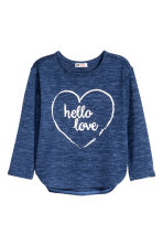Fine-knit printed jumper - Dark blue marl - Kids | H&M CN 2