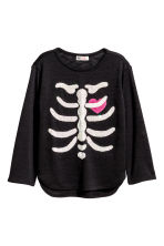 Fine-knit printed jumper - Black/Skeleton - Kids | H&M CN 2