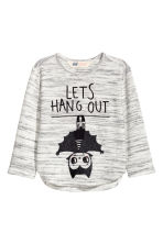 Fine-knit printed jumper - Grey marl/Bat - Kids | H&M CN 2