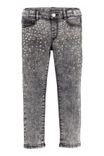 Treggings with studs - Dark grey washed out - Kids | H&M CN 2