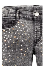 Treggings with studs - Dark grey washed out - Kids | H&M CN 4