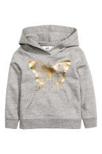 Printed hooded top - Grey marl/Butterfly - Kids | H&M CN 2