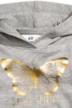 Printed hooded top - Grey marl/Butterfly - Kids | H&M CN 3