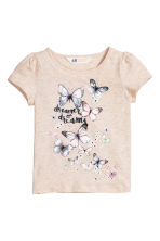 Jersey top with puff sleeves - Light beige/Butterflies - Kids | H&M CN 2