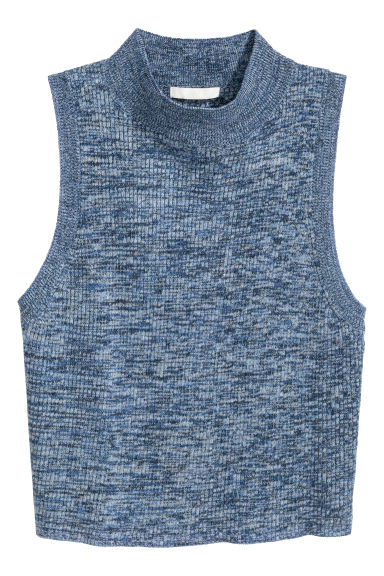 Knitted turtleneck top - Blue marl - Ladies | H&M CN 1