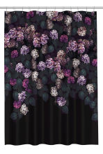 Photo-print shower curtain - Black/Hydrangea -  | H&M CN 2