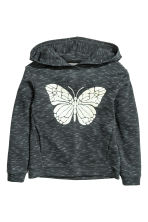 Hooded top - Dark grey/Butterfly - Kids | H&M CN 1