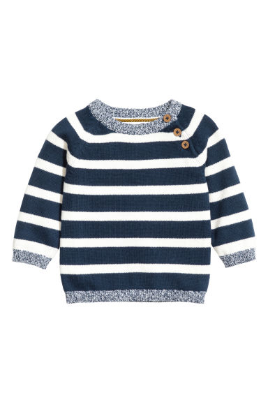 Knitted cotton jumper - Dark blue/Striped - Kids | H&M CN 1
