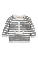 Knitted cotton jumper - Dark grey/Striped - Kids | H&M CN 1