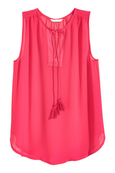 Sleeveless chiffon blouse - Cerise - Ladies | H&M CN 1