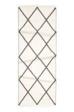 Jacquard-weave cotton rug - White/Black patterned - Home All | H&M CN 2