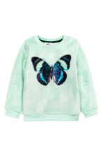 Plush jumper with a print - Mint green/Butterfly - Kids | H&M CN 2