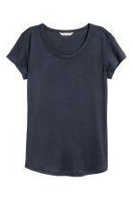 Lyocell jersey top - Dark blue - Ladies | H&M CN 1