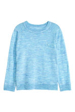 Fine-knit merino wool jumper - Light blue marl - Kids | H&M CN 2