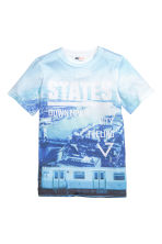Printed T-shirt - Light blue/Blue - Kids | H&M CN 2