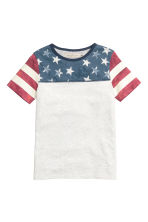 Printed T-shirt - Light grey marl - Kids | H&M CN 1