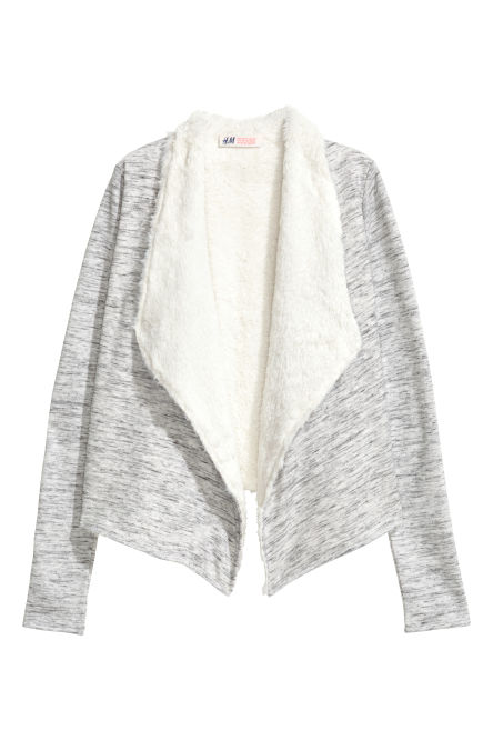 Pile-lined cardigan