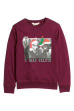 Printed sweatshirt - Burgundy - Kids | H&M CN 2